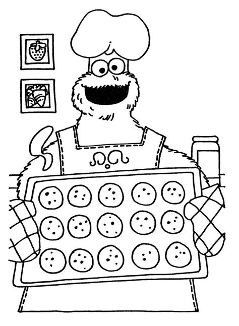 cookie monster baking coloring pages coloring pages