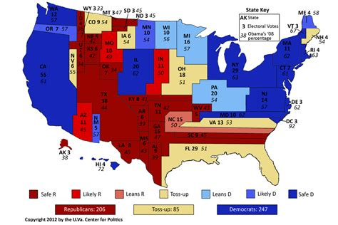 electoral map of the united states larry j sabato s 187 tight national race