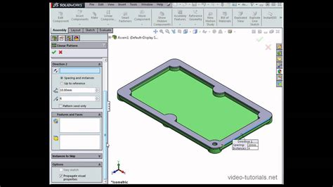 linear pattern solidworks youtube how to create assembly based linear patterns solidworks