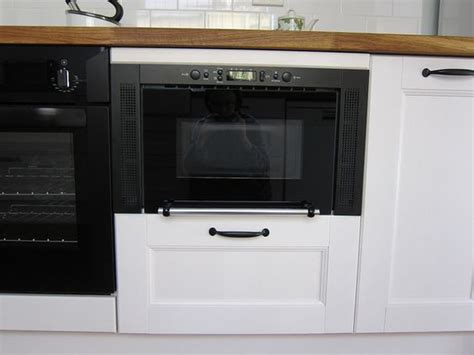 Microwave Base Cabinet by Built In Microwave In An Ramsjo Base Cabinet
