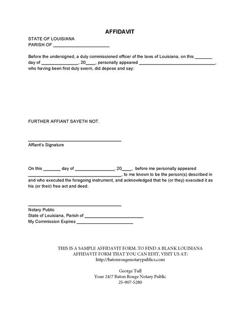 very simple affidavit form template exle featuring some