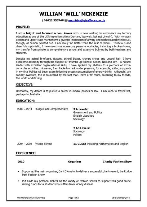 resume for school leaver resume ideas