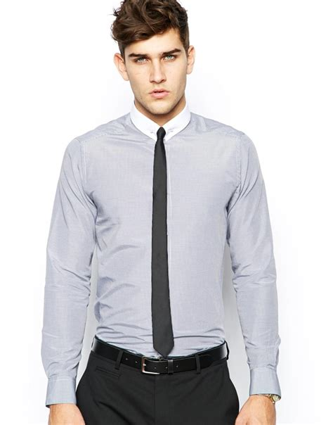 Cordelia Tie Longsleeve asos smart shirt in sleeve with check and tie pin in gray for lyst