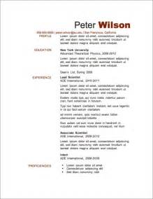 Resume Template by 12 Resume Templates For Microsoft Word Free Primer