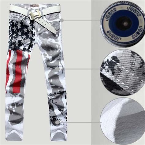 2016 s usa flag white painting color printing stripe cotton stretch denim