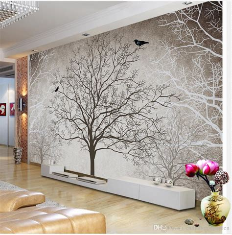 Wallpaper Sticker Motif Minimalis Black Square fashion customized hd retro black and white tree tv wall decoration painting mural 3d wallpaper
