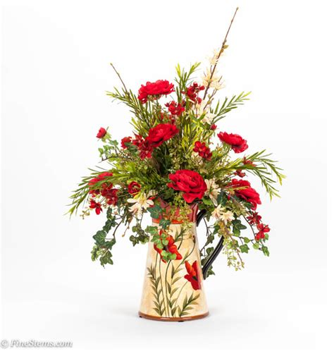 artificial floral arrangements red and cream silk floral arrangement in a poppy pitcher