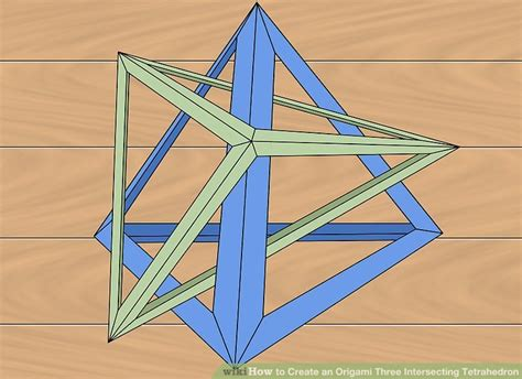 Origami Tetrahedron - how to create an origami three intersecting tetrahedron