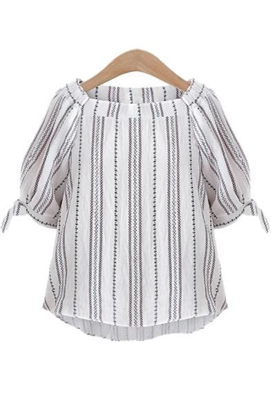 boat neck with half sleeve blouse boat neck half sleeve bow tie cuff striped printed