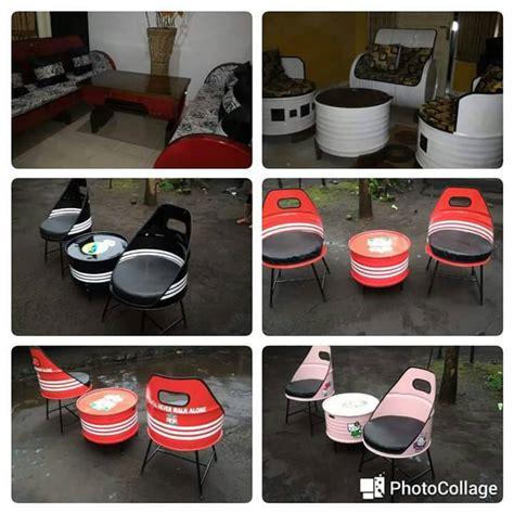 Jual Sofa Dari Ban Bekas jual 3in1 kursi set tong bekas drum motif sofa meja gratis