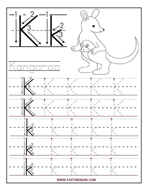 Memo Writing Exercises Printable Letter K Tracing Worksheets For Preschool