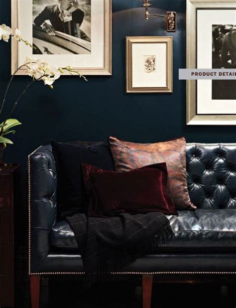 burgundy and black living room inspired by menswear navy walls leather chesterfield sofa burgundy tones etro esque
