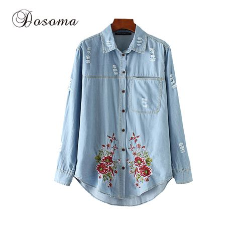 Bl7750 Flower Vintage Shirt vintage flower embroidery denim shirt 2017 sleeve casual blouses shirts