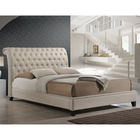 jazmin tufted modern bed with upholstered headboard baxton studio jazmin tufted light beige modern bed with