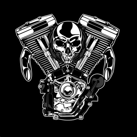 Mesin Graphic skull and motor background vector free