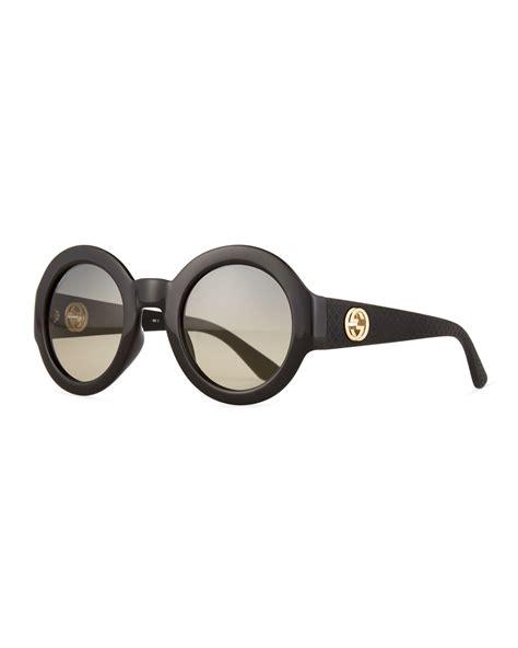 Gradient Sunglasses lyst gucci embossed gradient sunglasses in black