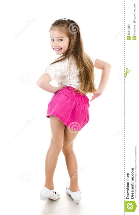 little young female models adorable happy little girl posing back view isolated stock