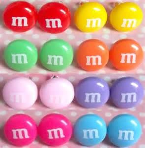 original m m colors kitsch m m stud post earrings in yellow green orange