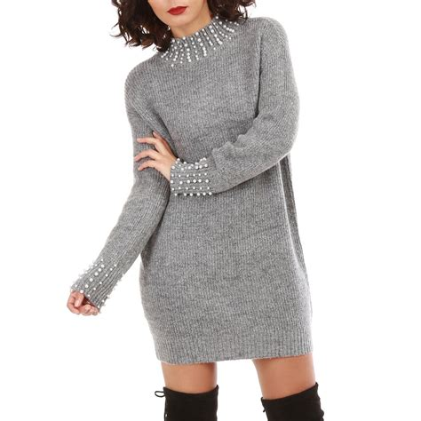 Robe Col Montant - robe pull gris chin 233 col montant avec perles femme pas