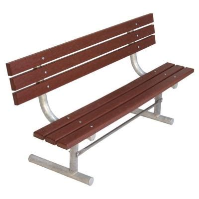 home depot park bench ultra play 6 ft brown commercial park recycled plastic bench with back surface mount g940p brn6