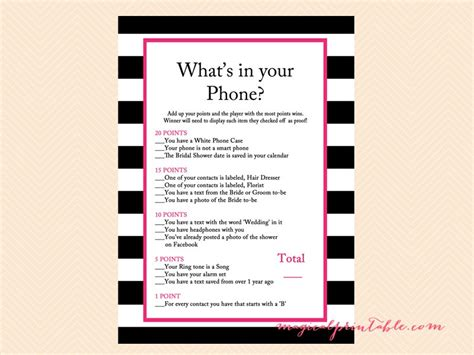 what s in a pink black stripes bridal shower kate spade magical printable