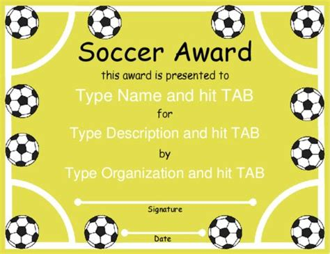 Award Certificate Templates Soccer Award With A Soccer Field And Balls Design In Yellow And Soccer Award Template