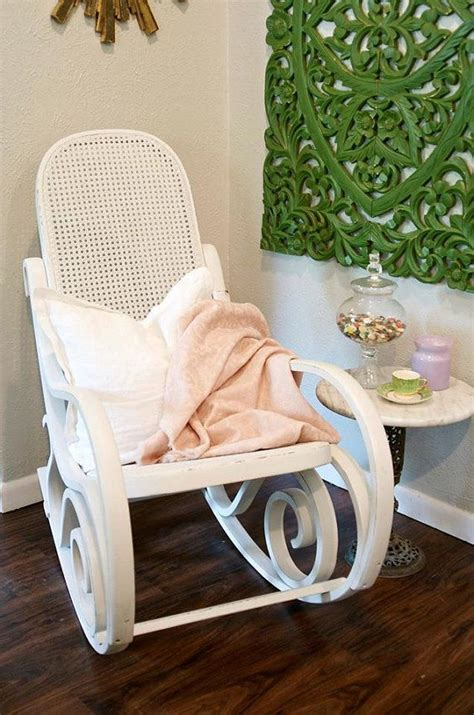 White Nursery Rocking Chair White Bentwood Rocking Chair Rocker White Nursery Chair Pink Blanket Shabby Chic Nursery