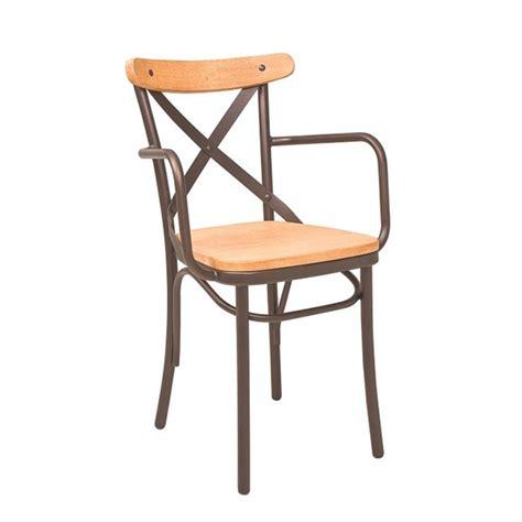 fauteuil bistrot fauteuil bistrot en metal assise en bois naturel cmg 15301 one mobilier