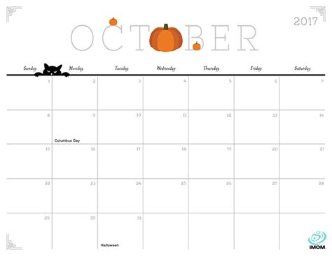 printable october 2017 calendar cute october 2017 calendar cute 2018 calendar printable