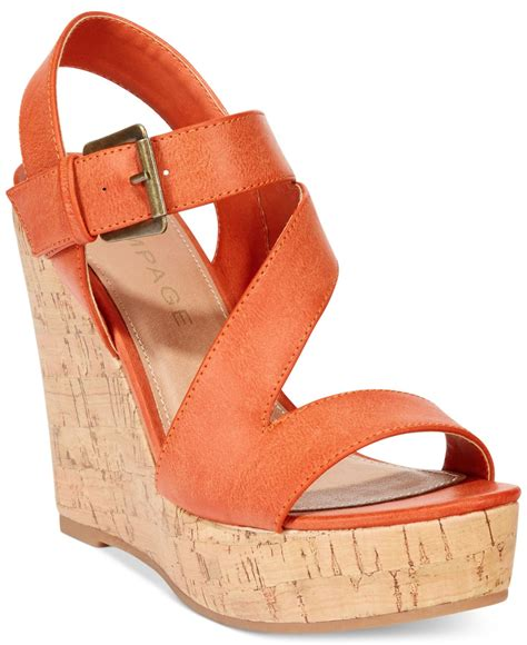 sendal wedges santai l56 orange lyst rage helman platform wedge sandals in orange