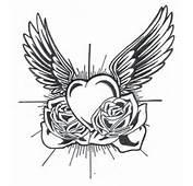 Mod&232le Tatouage De Coeur Old School Avec Des Ailes