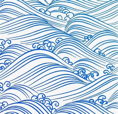 wave pattern sketch blue wave sea wave blue cartoon hand drawing png image
