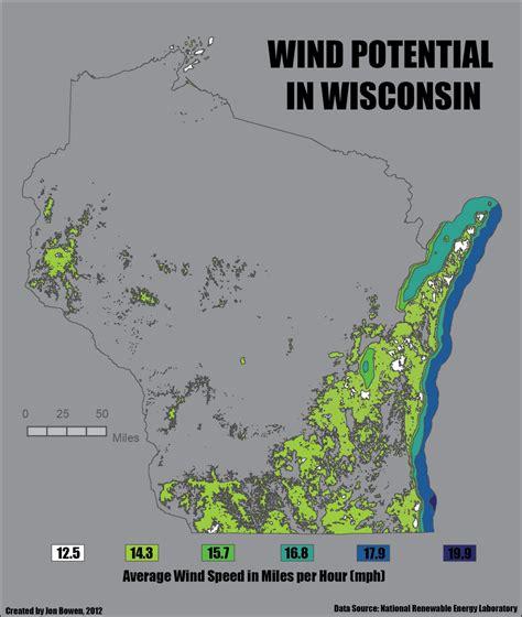 geography of wisconsin wind potential in the door peninsula
