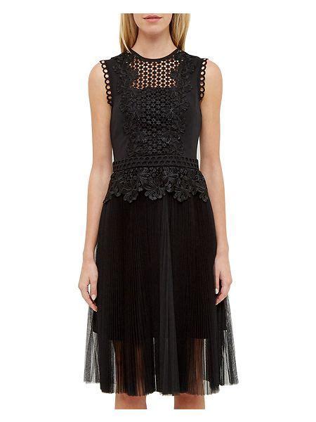 Feifei Dress ted baker feifei lace panel pleated tutu dress black