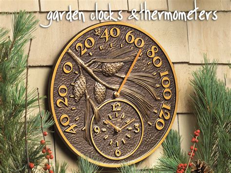 garden clocks outdoor clocks  thermometers