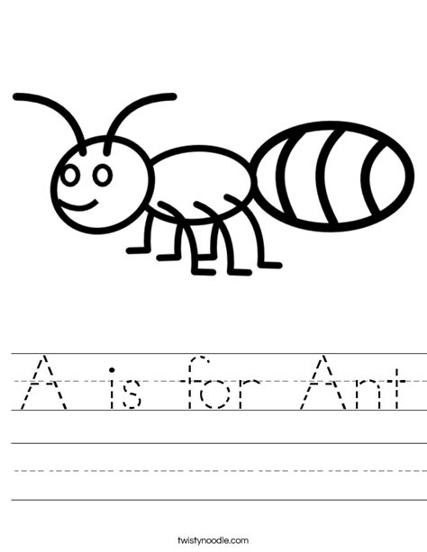 A Is For Ant Worksheet Twisty Noodle A Is For Coloring Pages