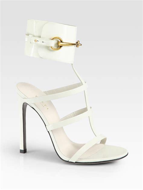 white gucci sandals gucci ursula patent leather horsebit ankle sandals