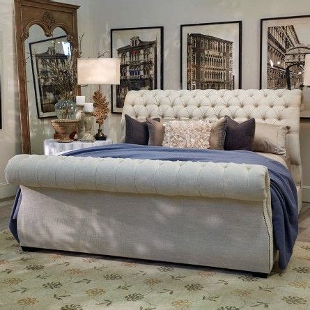 tufted headboard and footboard this chic upholstered sleigh bed features a luxurious