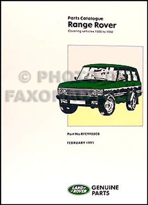 range rover spares ebay range rover parts book 1991 1990 1989 1988 1987 1986 part