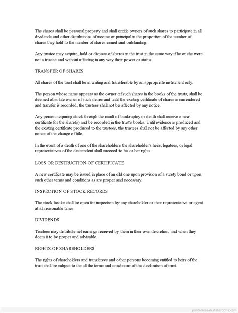Free Business Trust Agreement Form Printable Real Estate Forms Business Trust Template