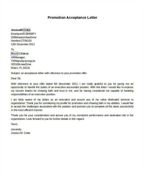 Promotion Joining Letter Format 56 acceptance letters
