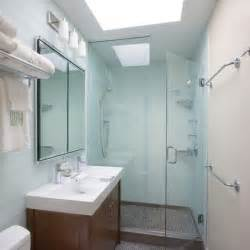 With modern wall mirror in beautiful small bathrooms glass shower door