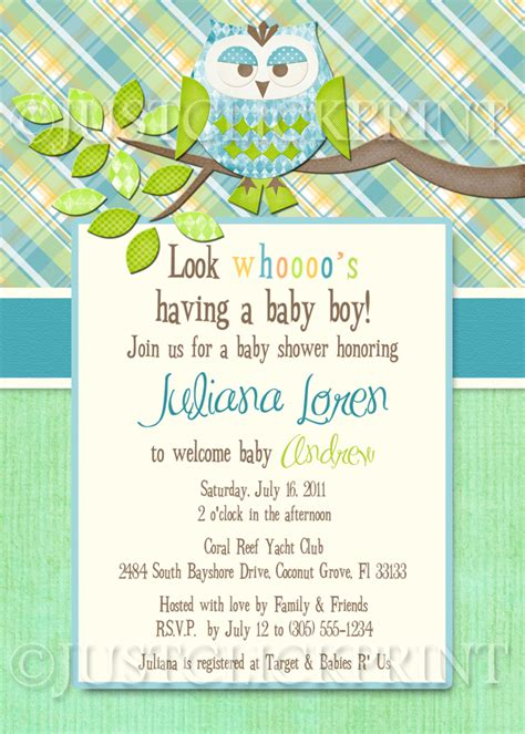 printable owl boy baby shower invitations boys plaid owl look whooos having a baby shower invitation