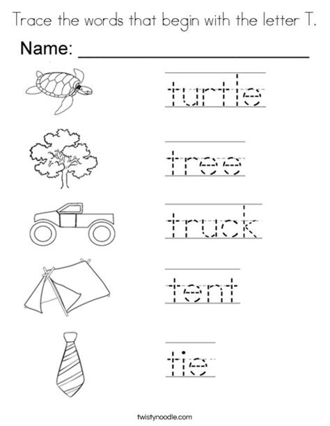 5 Letter Words Beginning With T trace the words that begin with the letter t coloring page