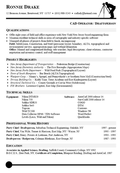 Resume Exles Drafting Design Resume Sle For Cad Operator Resumes Cover Letter Sle And Letter Sle
