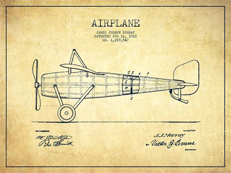 Harley Davidson Home Decor airplane patent drawing from 1918 vintage digital art by