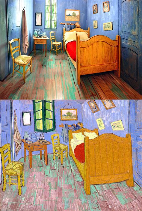 the bed room the best hotel ever sleep in an amazing painting by van gogh so bad so good