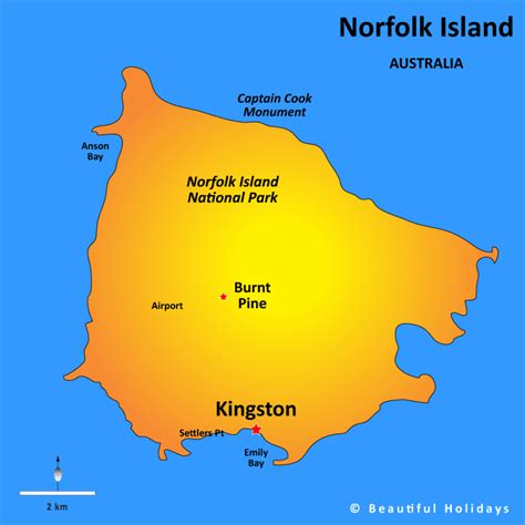 norfolk island map norfolk island map showing attractions accommodation
