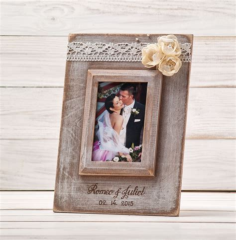 Frame Personalized personalized wedding frame rustic wedding picture photo frame