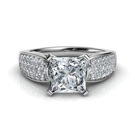 wide band design pav 233 princess cut engagement ring